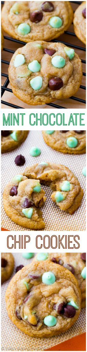 Mint Chocolate Chip Cookies - soft-baked style! These disappear whenever I bake them. Double the batch! | sallysbakingaddiction.com