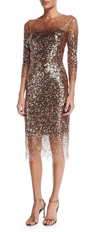 Monique Lhuillier sequined ombré illusion dress, $3,995, Bergdorf Goodman...