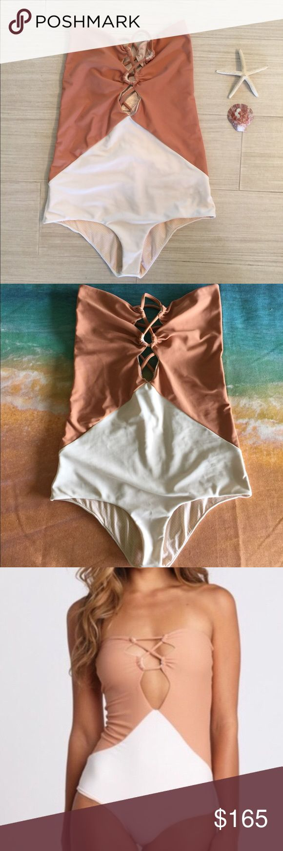 Acacia Bronx one piece white cream color Small Used only twice (tag removed)  no flaws!  Perfect condition!  Hand washed. acacia swimwear Swim One Pieces