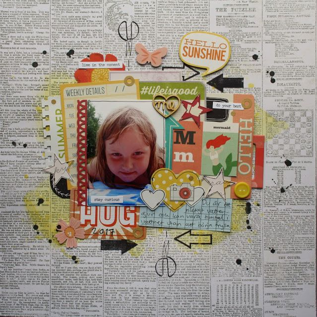 Scrapbook layout using up lots of paper scraps in layers