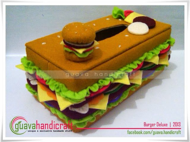 Kotak Tisu Flanel Burger 02 versi GUAVA Handicraft