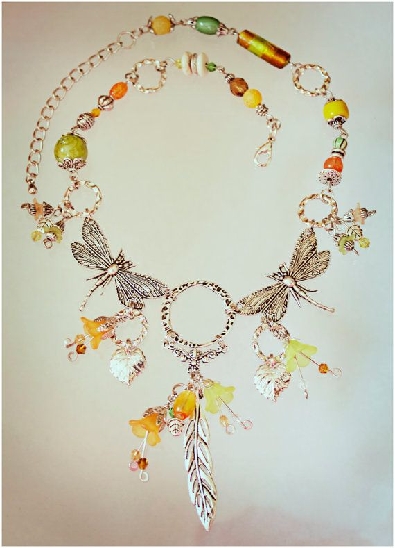 Dragonfly Necklace  Citrus  Necklace ONLY by AngelaVenArtwork, $45.00