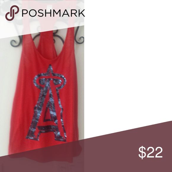 Blinged Angel Tank Tank is loose fitting and has the Big A for the Angels baseball team. Has 2 tiny tiny holes shown in picture 2. PINK Victoria's Secret Tops Tank Tops