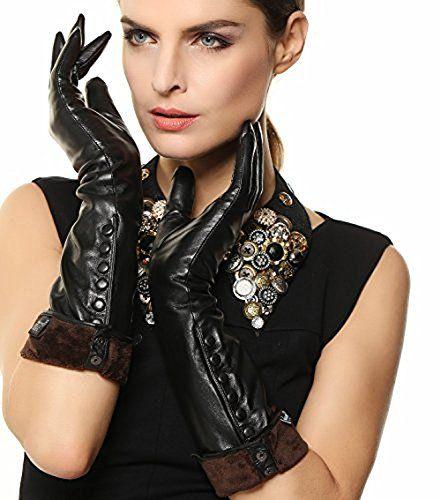 Size: Small; Medium; Large; XLarge. Color:Black; Red; Brown; Grey. Measurement: Size S= 6.5″- 7″ ( 16.5-17.8 cm). Size M= 7″- 7.5″ ( 17.8-19.0 cm). Size L= 7.5″-8″ ( 19-20.3 cm). Size XL= 8″ ( 20.3 – 22 cm) Plush Lining Leather covered button Super warm Elbow Length  Best Discounts - 52% Off