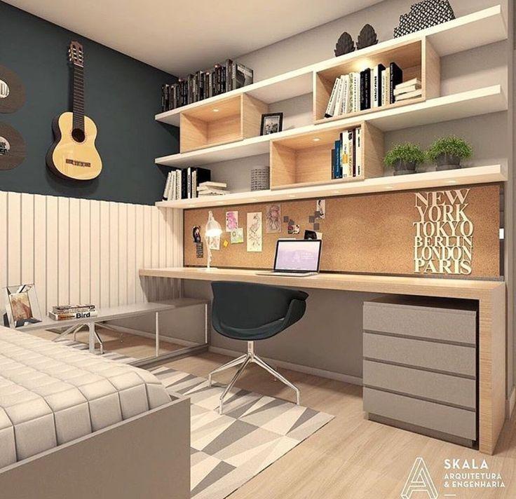 """Exemplo de """"quadrados"""" e prateleiras simétricas para o quarto."""