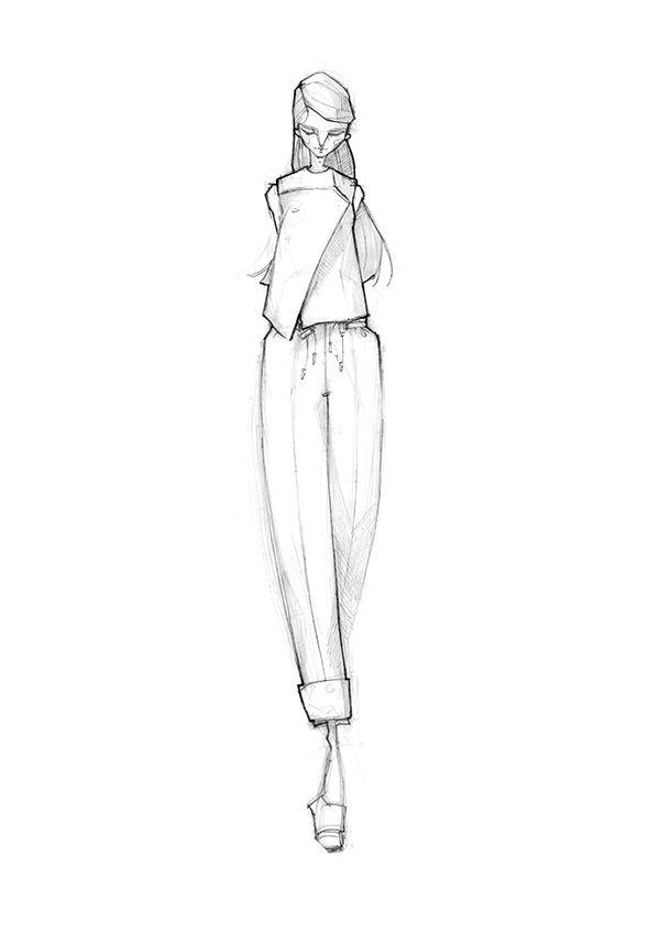 Fashion illustration - chic tailoring, fashion sketch // Milan Zejak