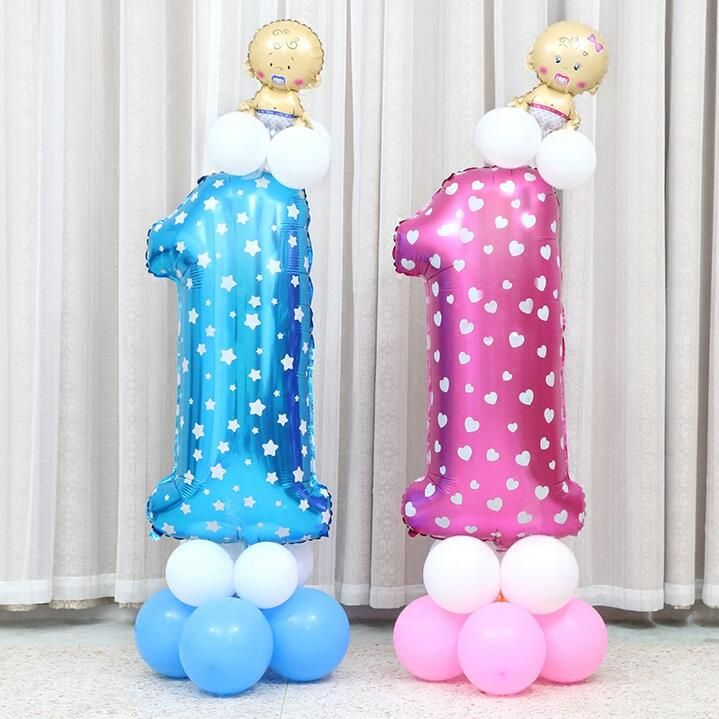40 inch Blue Pink Number Balloon Aluminum Foil Helium ...