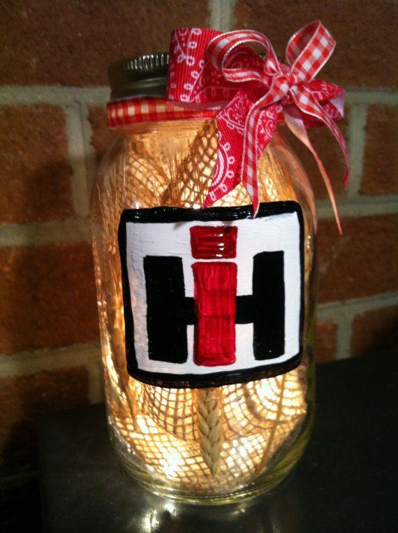 Home Decor, Rustic Decor, Mason Jar decor, Lit Mason Jar, International Harvester Mason Jar