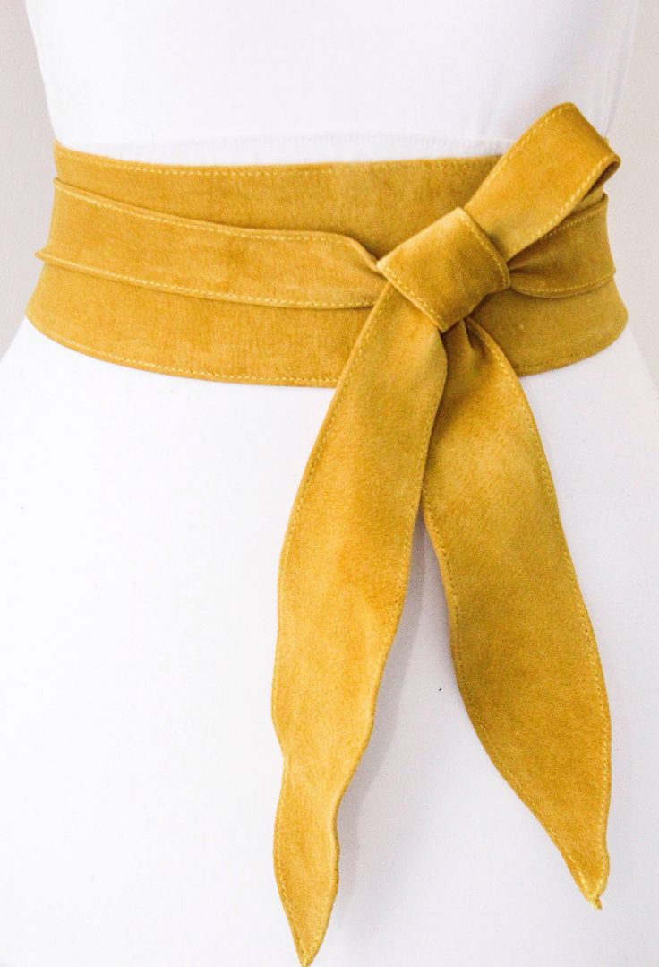 Yellow suede obi belt https://www.etsy.com/uk/listing/510648160/mustard-yellow-suede-tulip-tie-obi-belt