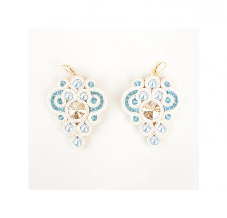 #necklace # collana #soutache #Swarovski #aquamarine #acquamarina #pantone #springsummer #2015 #romantic #chic #allegrettaglamour #handmade #madeinitaly