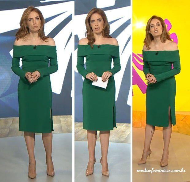 Modelo de vestido verde tomara que caia e mangas longas, sapatos nude - Poliana Abritta no FANTÁSTICO 07 de Junho