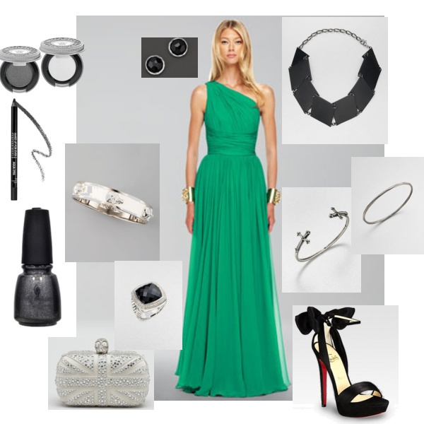 Gorgeous emerald green dress at the heart of this outfit for the New Year's Eve Ball fashion mission. Will it take top prize?