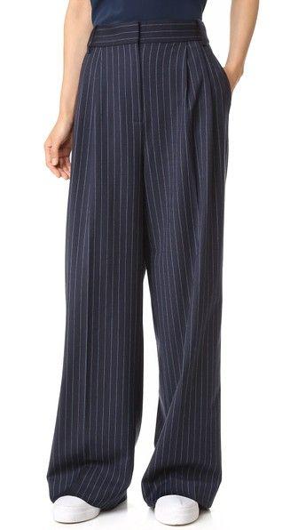 Tibi Pinstripe Wide Leg Pants