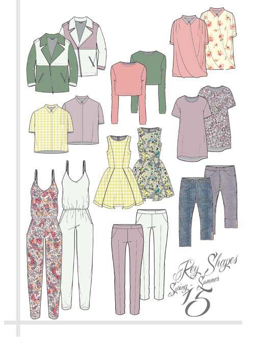 SPRING SUMMER KEY SHAPES - ArtsThread #technicalflat #womenswear #fashiondesign #technicaldesign #technicalfashiondesign #linesheet #technicalsketch