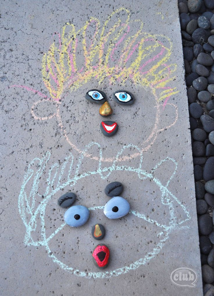 Sidewalk chalk & painted River Rocks ~ creative kids activity ~ have kids paint facial features on rocks -- then they can use them for chalk faces ~ kids DIY