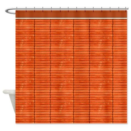 Orange Wooden Slat Blinds Shower Curtain on CafePress.com
