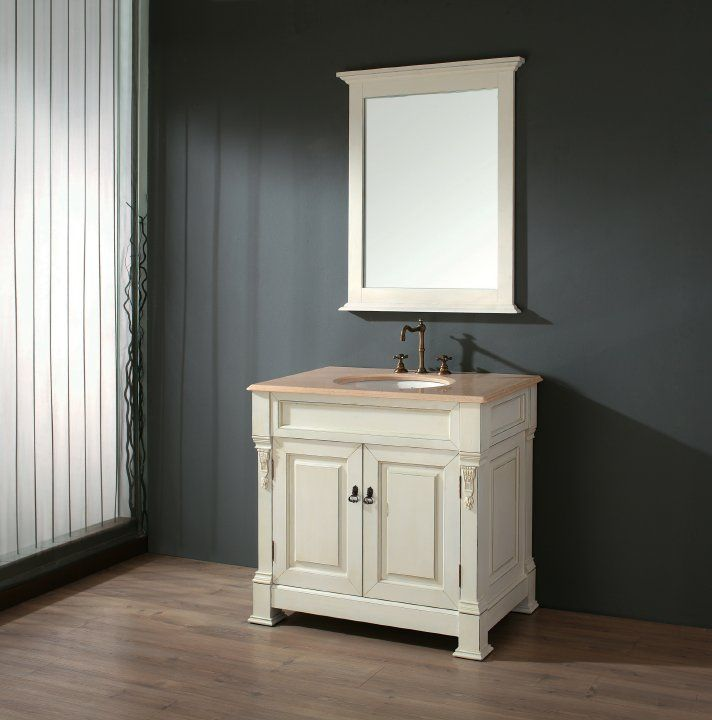 Studio Bathe Aragon Small Antique Bathroom Vanity. http://www.listvanities.com/antique-bathroom-vanities.html The Aragon Small is a respectful homage to French Colonial design, yet from the copper toned hardware to the Hepplewhite inspired drapery swag motifs, the vanity has a lot more to it than just old world charm