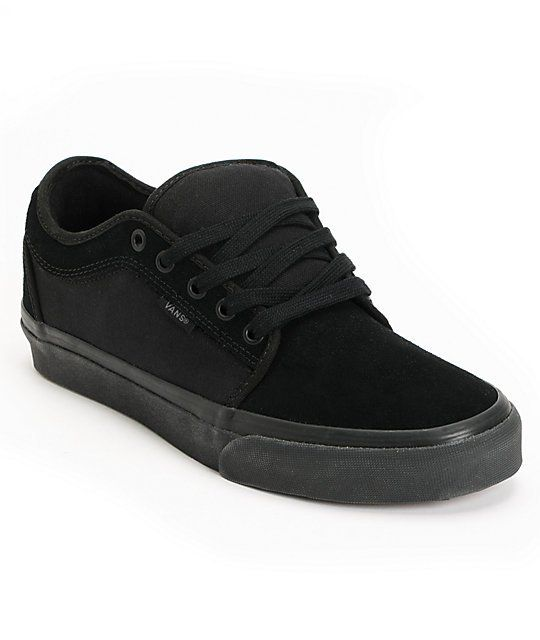 The Vans Chukka low all black skate shoe are a great new shoe for you to shred in. Team designed and tested with inspiration from the Authentic and Chukka Boot with a modern slim shape, black suede upper with canvas sides, waffle tread bottom, and a drop