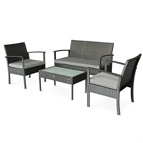 aliceus garden muebles de jardin conjunto sofa de exterior negro gris
