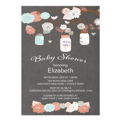 chalkboard rustic country mason jar baby shower 5x7 paper invitation card