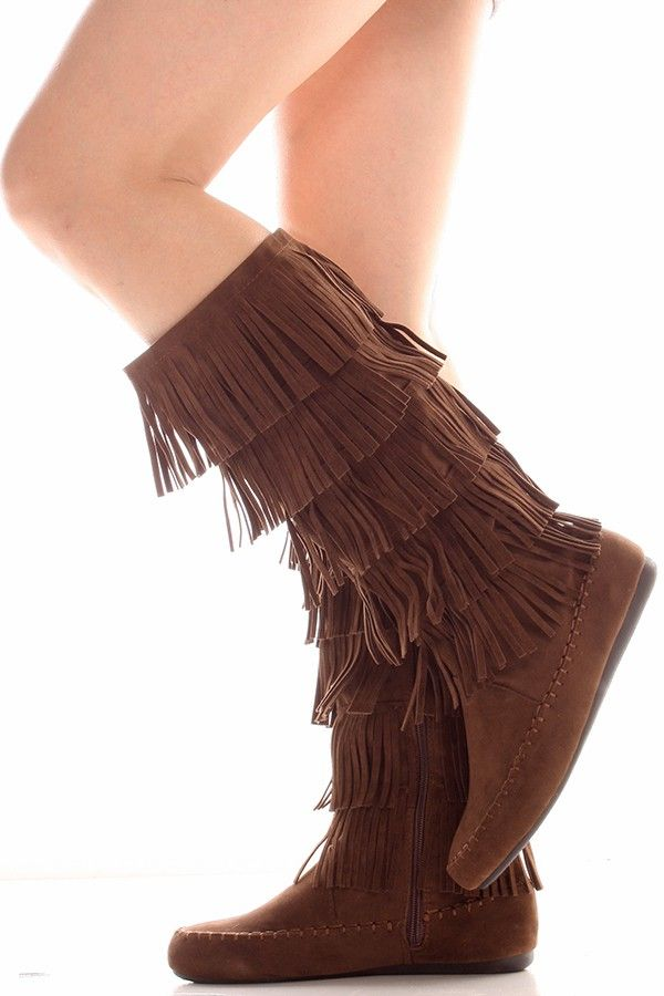 Brown fringe design inner zipper casual boots feature a suede material and a moccasin boot style.This boot full length is about 16 inches.