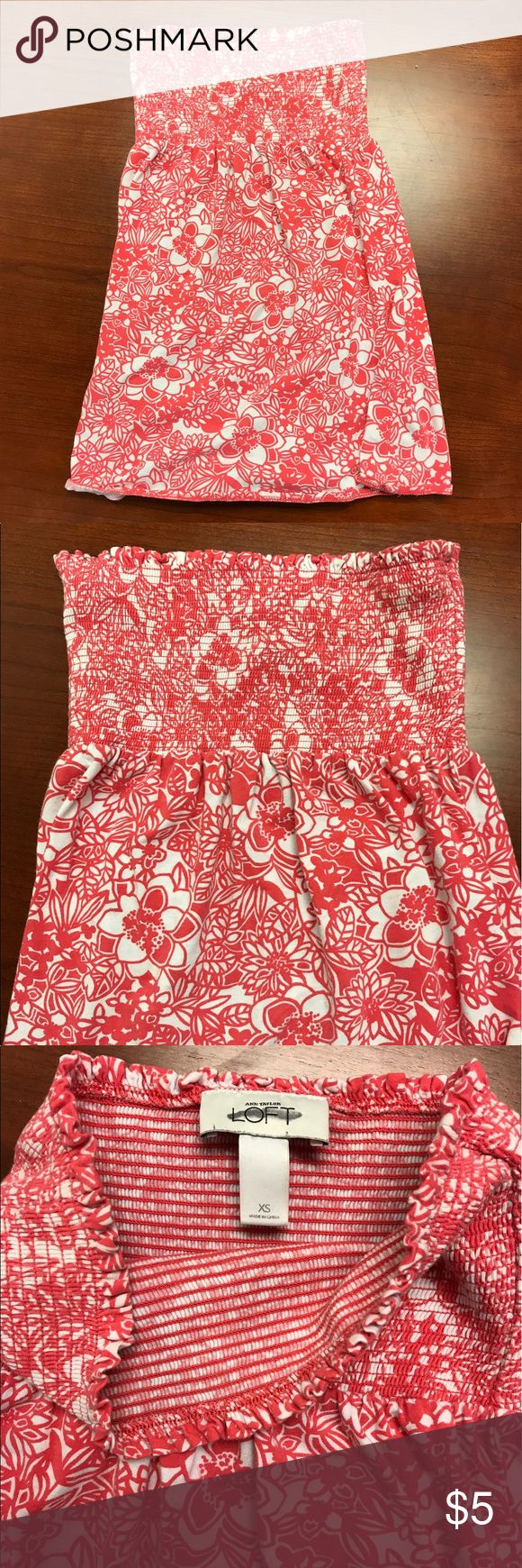Ann Taylor Loft Floral Coral and White Tube Top XS Ann Taylor Loft Floral Coral and White Tube Top XS. Looks more red in photos but 100% coral! Good condition. Stretchy material. LOFT Tops