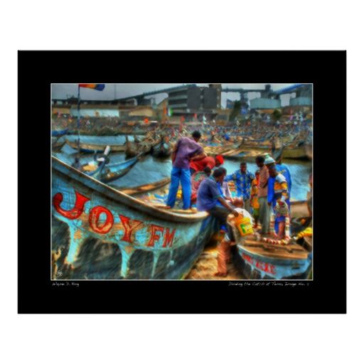 Fishing crews at Tema Harbor wrap up the days activities with a group meeting. Tema is a very busy harbor in Ghana, West Africa.  This image is the basis for 8 original prints, each slightly different in some way from the other. One original of each version is created, signed, dated and with a certificate of authenticity. The image is used for creation of an open edition but otherwise archived and kept only for historic purposes and publications. To purchase an original contact the artist at…