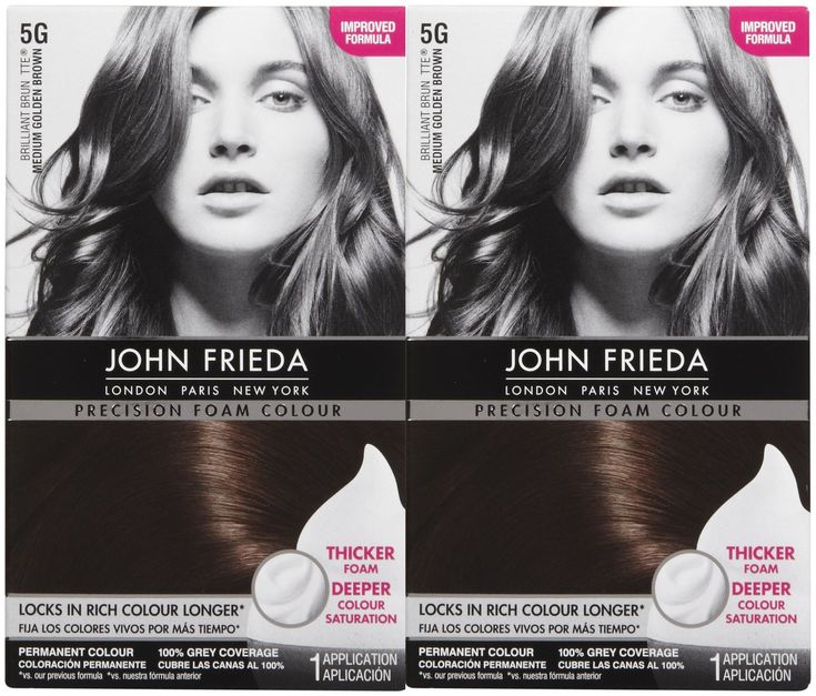 John Frieda Precision Foam Hair Colour, Medium Golden Brown 5G, 2 pk. John Frieda Precision Foam Hair Colour -- Precision Foam Colour is a premium permanent home hair color that uses foam technology to deliver salon-quality results at home. With 20 flattering shades to choose from, achieving flawless, natural-looking results is quick and easy. Simply massage the foam into your hair to achieve the flawless coverage you thought you could only get at a salon. There are no drips, no stains −−...