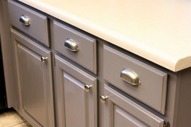 rustoleum federal grey- kitchen cabinet color.. like the hardware too