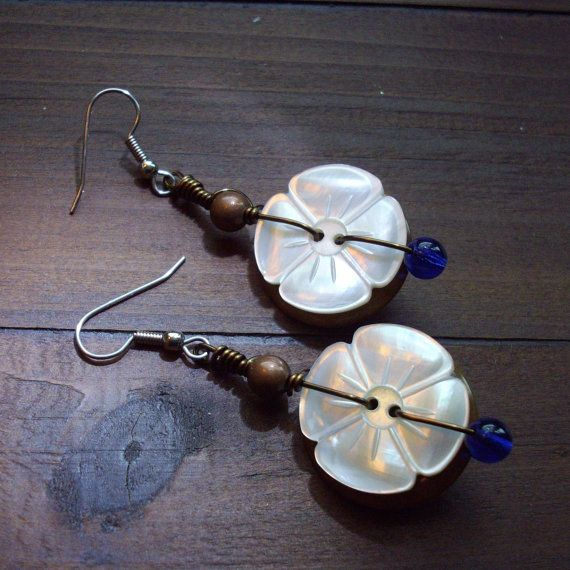 Wire Wrapped Button Earrings Made With Vintage by ...   Button jewelry