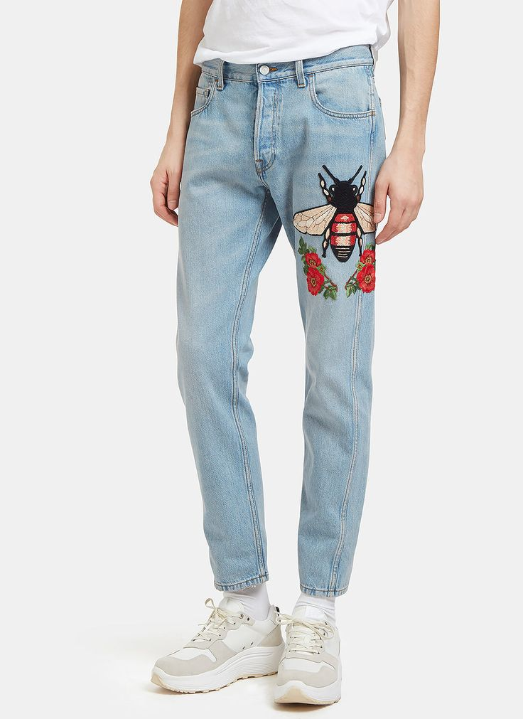 GUCCI Men's Embroidered Floral Fly Patch Jeans in Blue. #gucci #cloth #