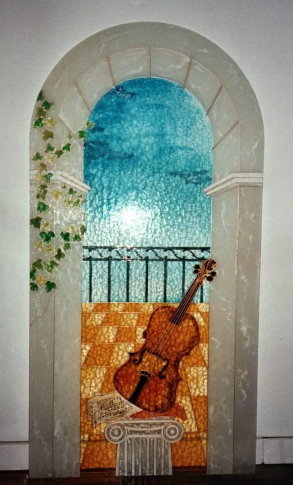 Trompe l'oeil su vetro cattedrale