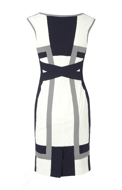 Karen Millen Graphic Colour Block Dress White and Grey and Blue