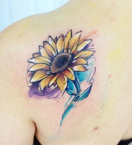 Watercolor Sunflower Tattoo