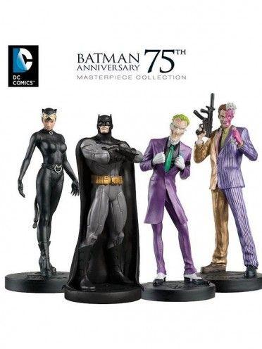 """Coffret collector en édition limitée et numéroté de 4 grandes figurines en résine de Batman, le Joker, Catwoman et Pile ou Face """"version New 52"""", célébrant les 75 ans de Batman."""