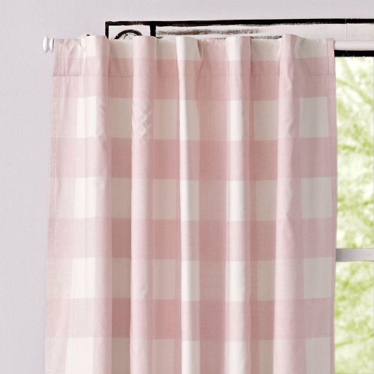 Pink Buffalo Check Curtain | The Land of Nod