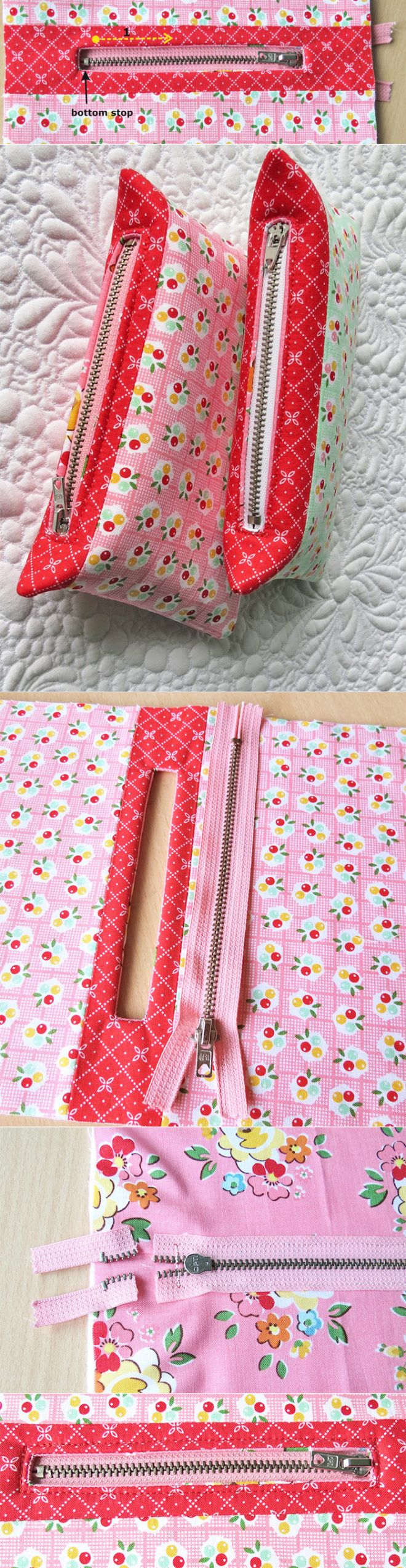 How to shorten zippers for pouches and bags - Geta's Quilting Studio
