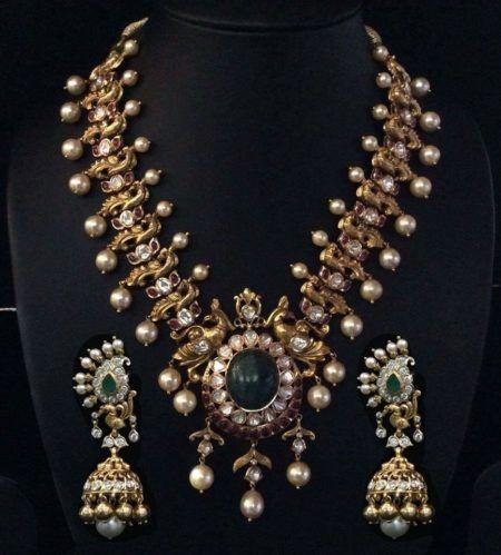 antique peacock polki haram