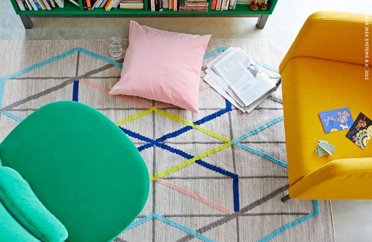 Breng kleur in je huis! STOCKHOLM draaifauteuil, IKEA PS 2014 tapijt #IKEA #woonkamer