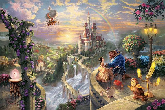 Thomas Kinkade Disney Oil Painting Beauty and the Beast falling in love  Giclee Art Print On Canvas 16X24 inch no frame