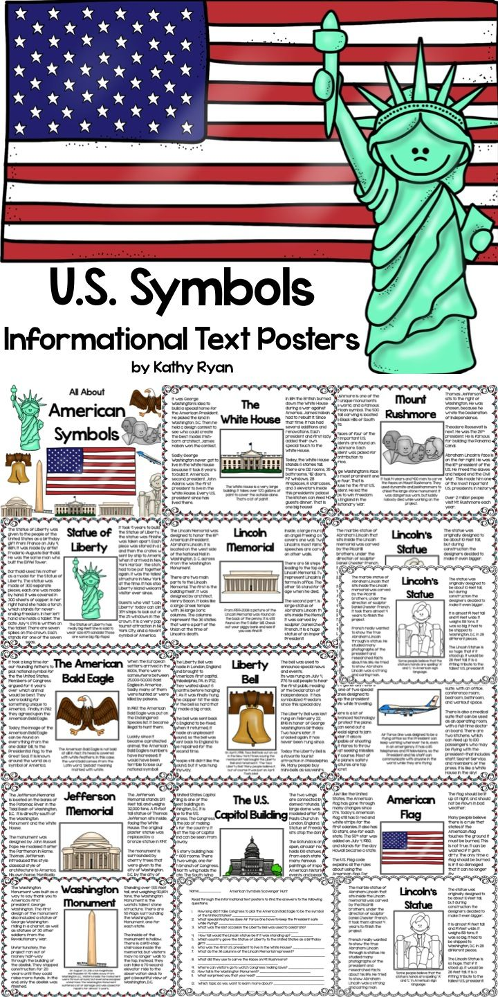 "Your students will love learning interesting facts and the history behind 12 of America's most iconic symbols with these American Symbols Informational Text Posters. Color and b/w copies are included for your printing needs. May be used as an ""Around the Room"" activity when completing the enclosed scavenger hunt. They can also be printed as a coloring book."