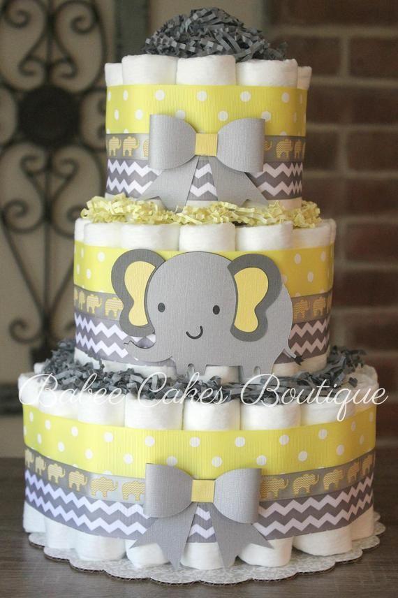 3 Tier Yellow And Gray Elephant Diaper Cake Yellow Grey Etsy