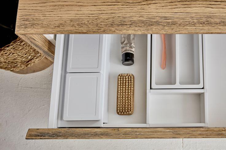 Timber vanity storage. Loughlin Furniture.
