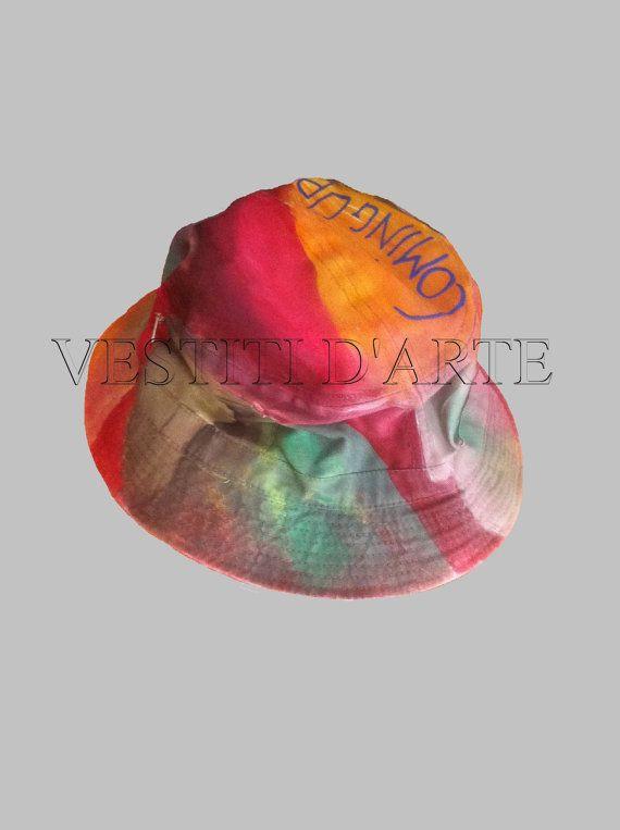 Hand painted unisex hat one size bohemian dress by Vestitidarte
