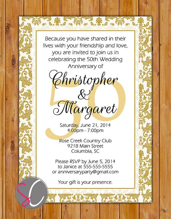 50th Golden Wedding Anniversary Invitation Gold by scadesigns, $16.00