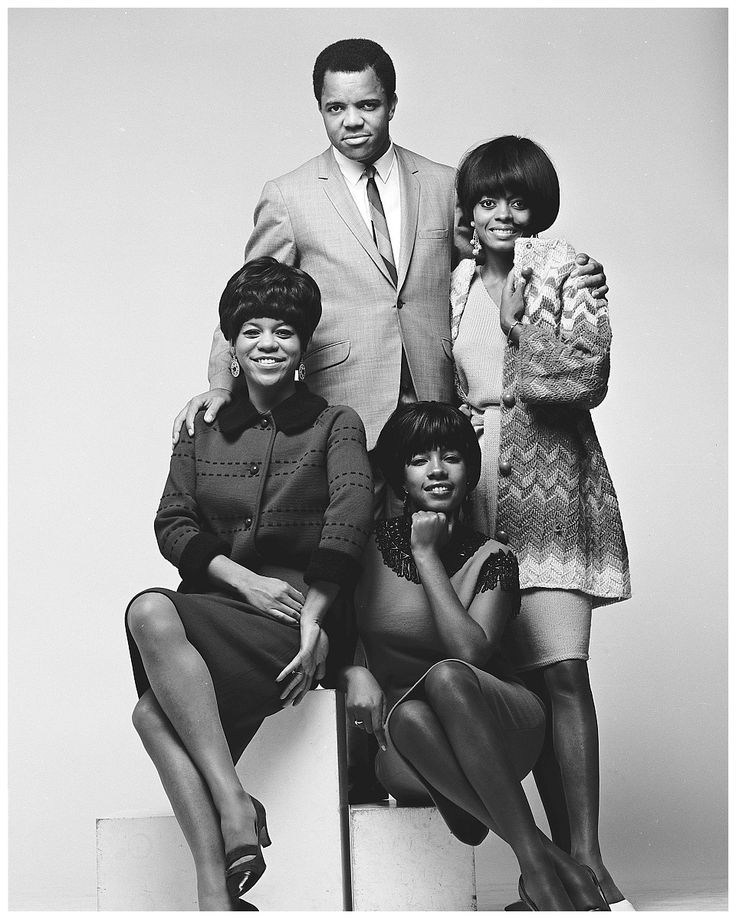 Berry Gordy Jr and the Supremes studio portrait, 1965, USA. Clockwise from top: Berry Gordy, Diana Ross, Mary Wilson, Florence Ballard. Photo by Gilles Petard/Redferns