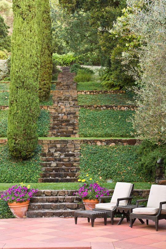 Landscape architect William B. Callaway of  FASLA designed this Napa Valley Garden and Vineyard.