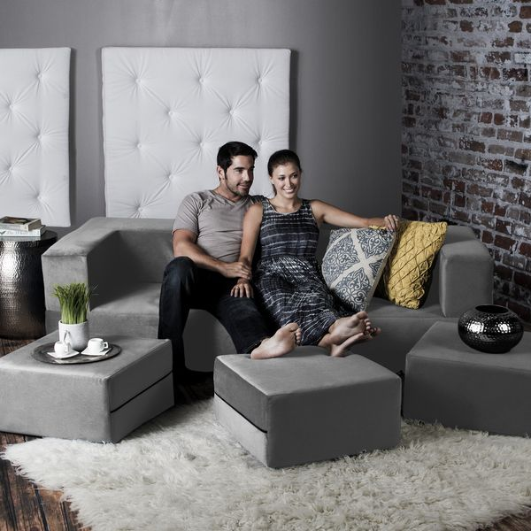 The Zipline Convertible Sleeper Sofa with three accompanying ottomans features a multi-functional flip design feature that allows it to adapt to any situation. Relax with friends in a comfortable thre