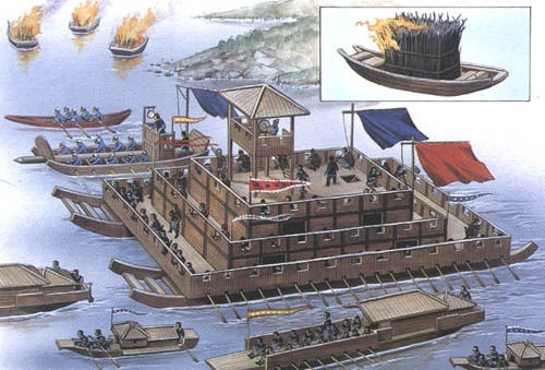 Han-dynasty era river warfare. Circa 100 AD. There was little need for sea warfare in China given the convex shape of the land. River warfare dominated as illustrated by these unusual flat-bottomed boats. Fire boats are shown in the upper left. Carrying burning wood, they were set adrift in the direction of the enemy's vessels.