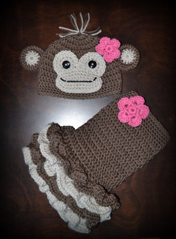 Crochet Monkey Baby Beanie Hat & Matching Tutu Dress Photo Prop Custom Made Boy Girl Costume $55